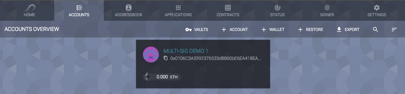 select multisig wallet